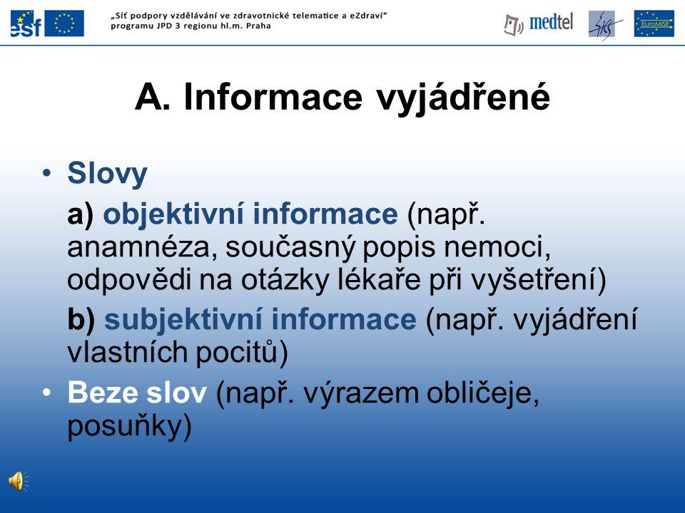 Slovy a) objektivní informace (např.