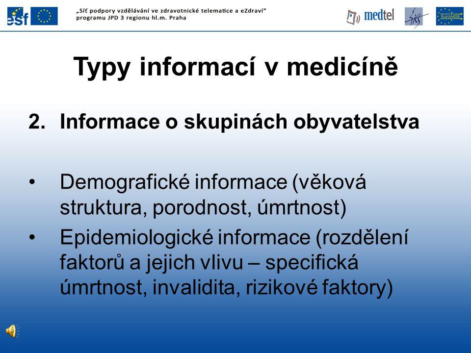 Typy informací v medicíně 2.Informace o skupinách obyvatelstva Demografické informace (věková struktura, porodnost, úmrtnost) Epidemiologické informace (rozdělení faktorů a jejich vlivu – specifická úmrtnost, invalidita, rizikové faktory)