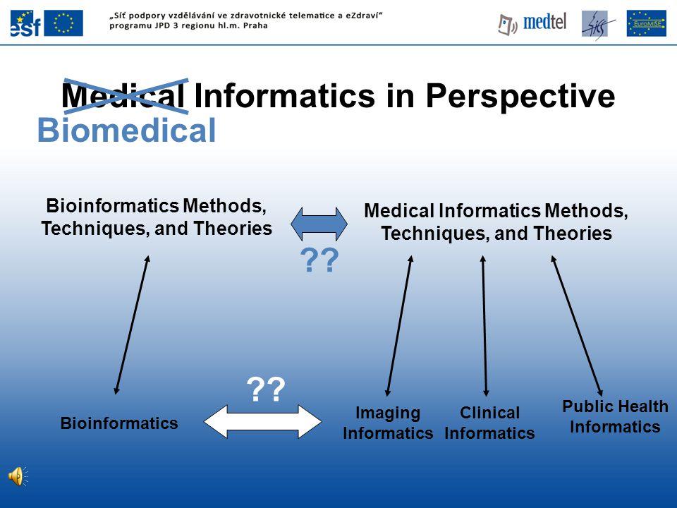 Medical Informatics Methods, Techniques, and Theories Imaging Informatics Clinical Informatics Bioinformatics Public Health Informatics Bioinformatics Methods, Techniques, and Theories ?.