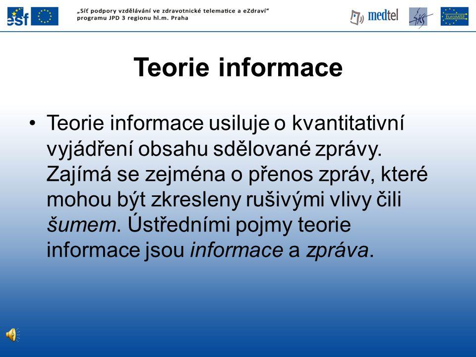 Teorie informace Teorie informace usiluje o kvantitativní vyjádření obsahu sdělované zprávy.