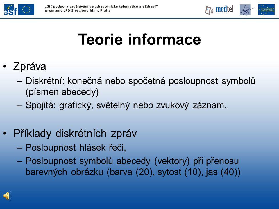 Zpráva –Diskrétní: konečná nebo spočetná posloupnost symbolů (písmen abecedy) –Spojitá: grafický, světelný nebo zvukový záznam.