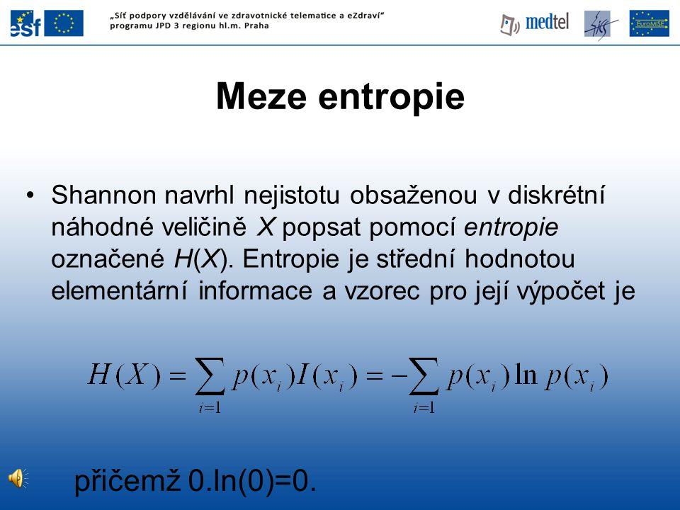 Shannon navrhl nejistotu obsaženou v diskrétní náhodné veličině X popsat pomocí entropie označené H(X).