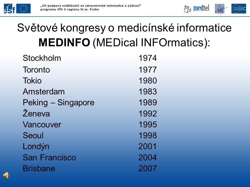 Typy informací v medicíně 1.Údaje o průběhu onemocnění Nadbytek informací (komplementární vyšetření) Užší specializace (vnitřní lékařství – elektrokardiologie – rytmologie)
