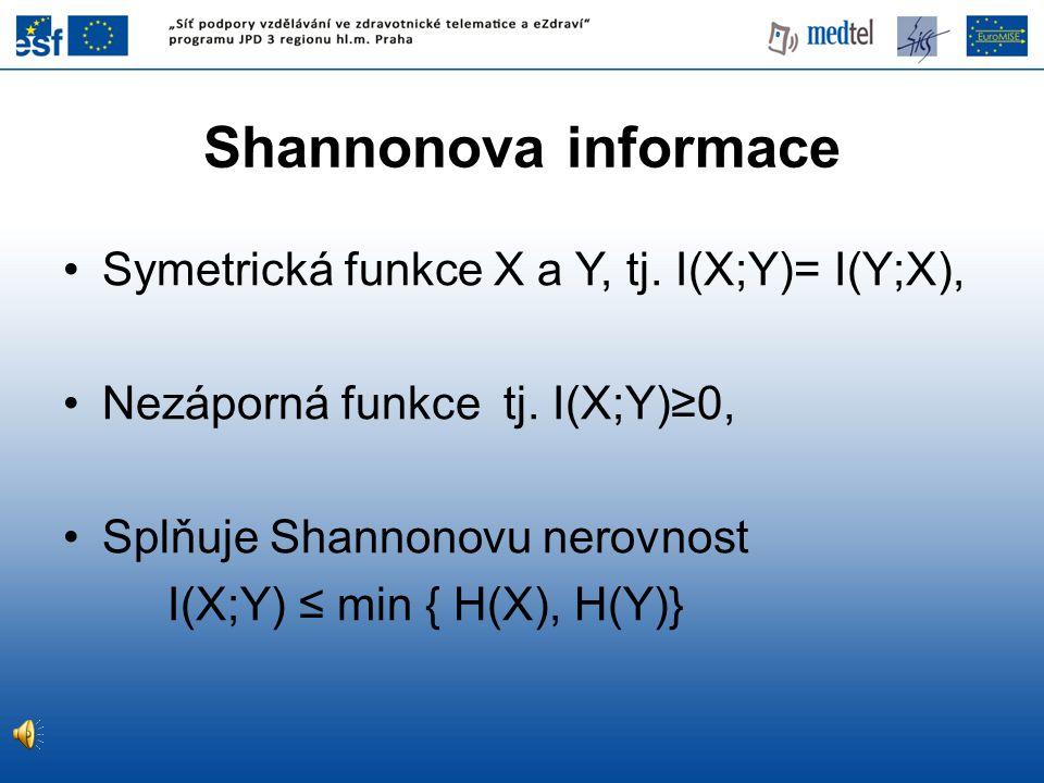 Symetrická funkce X a Y, tj. I(X;Y)= I(Y;X), Nezáporná funkce tj.