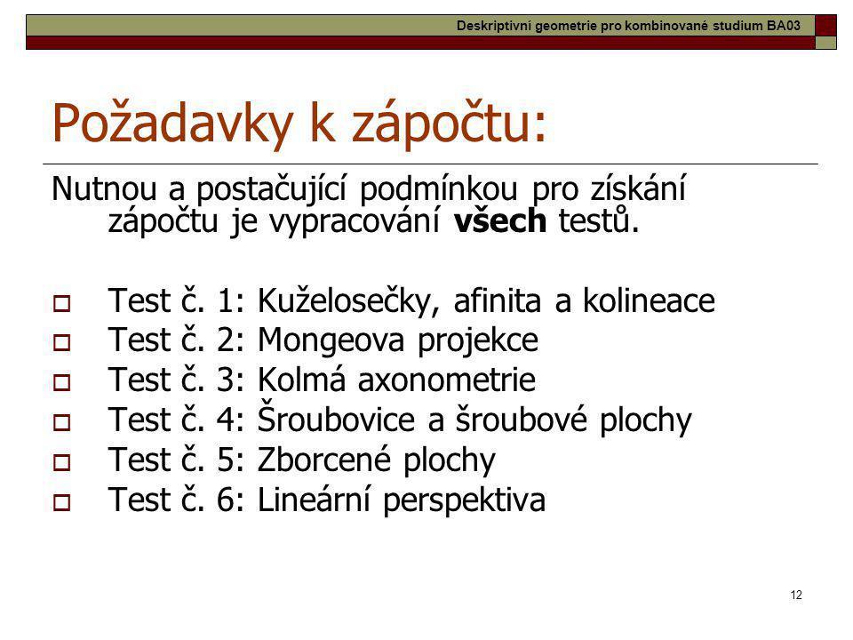 12 Požadavky k zápočtu: Nutnou a postačující podmínkou pro získání zápočtu je vypracování všech testů.  Test č. 1: Kuželosečky, afinita a kolineace 