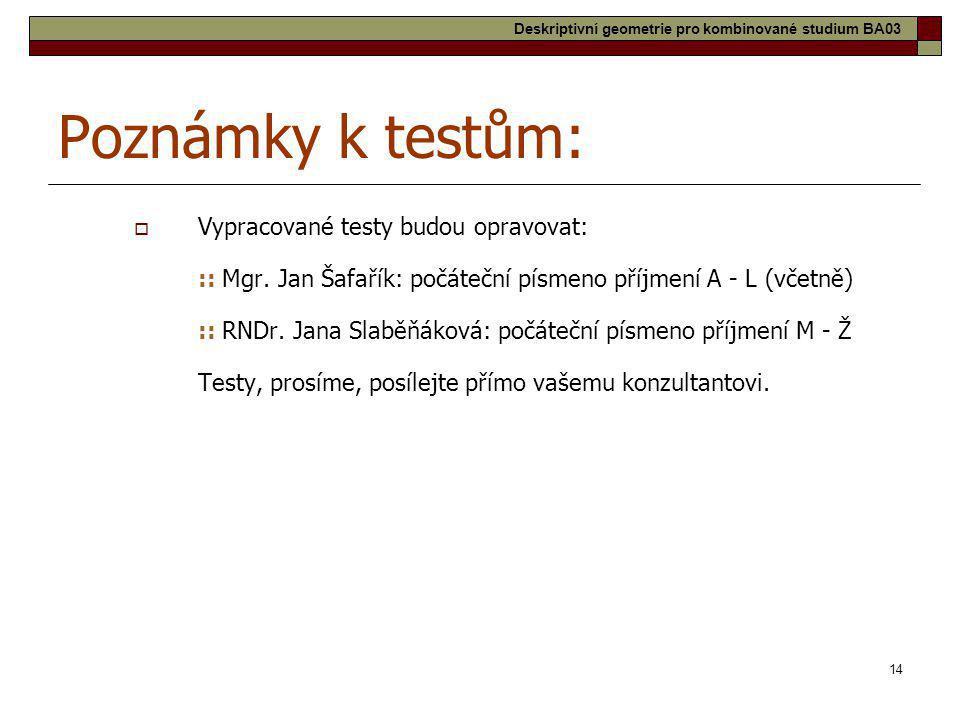 14 Poznámky k testům:  Vypracované testy budou opravovat: :: Mgr. Jan Šafařík: počáteční písmeno příjmení A - L (včetně) :: RNDr. Jana Slaběňáková: p