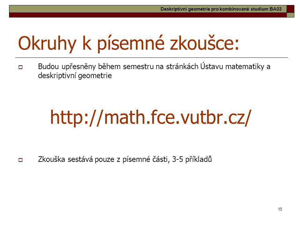 15 Okruhy k písemné zkoušce:  Budou upřesněny během semestru na stránkách Ústavu matematiky a deskriptivní geometrie http://math.fce.vutbr.cz/  Zkou