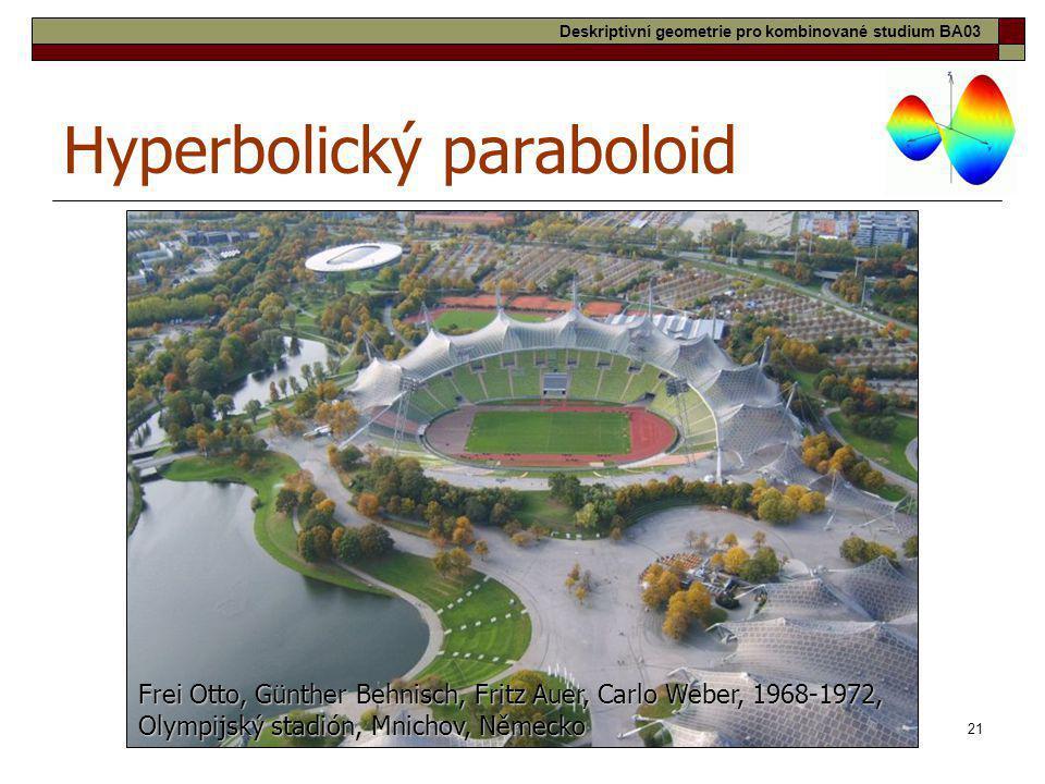 21 Hyperbolický paraboloid Frei Otto, Günther Behnisch, Fritz Auer, Carlo Weber, 1968-1972, Olympijský stadión, Mnichov, Německo Deskriptivní geometri