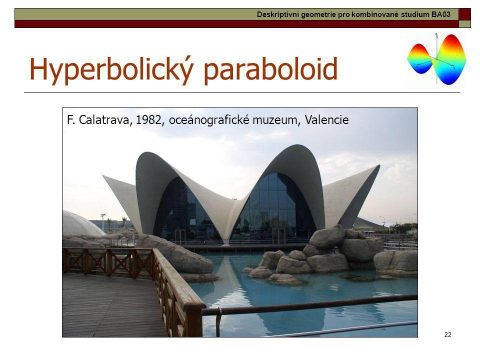 22 Hyperbolický paraboloid F. Calatrava, 1982, oceánografické muzeum, Valencie Deskriptivní geometrie pro kombinované studium BA03