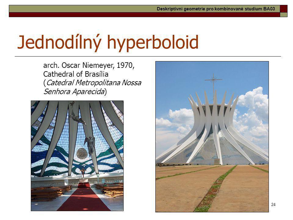 24 Jednodílný hyperboloid arch. Oscar Niemeyer, 1970, Cathedral of Brasília (Catedral Metropolitana Nossa Senhora Aparecida) Deskriptivní geometrie pr
