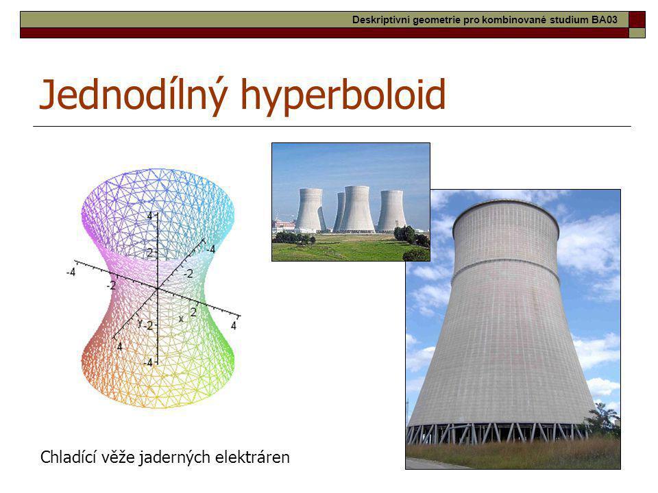 26 Jednodílný hyperboloid Chladící věže jaderných elektráren Deskriptivní geometrie pro kombinované studium BA03