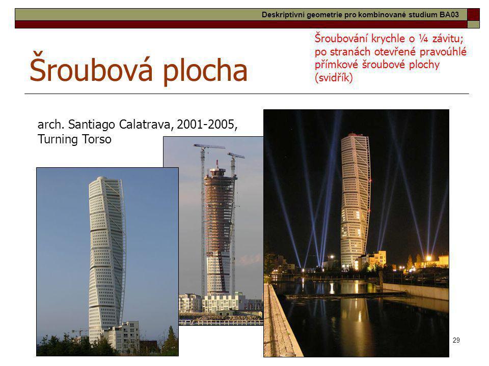 29 Šroubová plocha arch. Santiago Calatrava, 2001-2005, Turning Torso Šroubování krychle o ¼ závitu; po stranách otevřené pravoúhlé přímkové šroubové