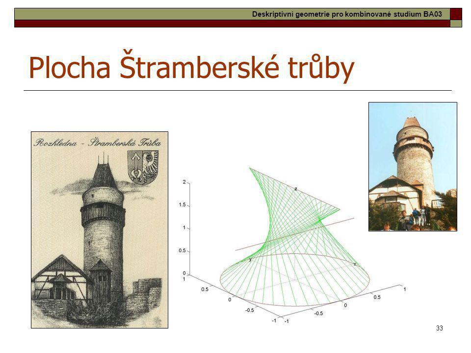 33 Plocha Štramberské trůby Deskriptivní geometrie pro kombinované studium BA03