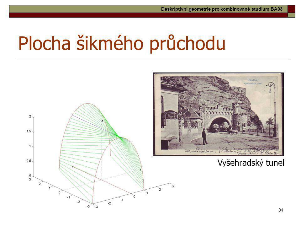 34 Plocha šikmého průchodu Vyšehradský tunel Deskriptivní geometrie pro kombinované studium BA03
