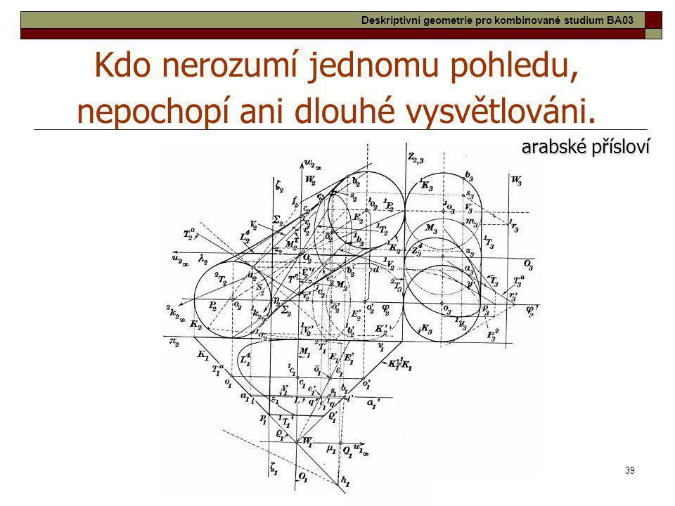 39 Kdo nerozumí jednomu pohledu, nepochopí ani dlouhé vysvětlováni. arabské přísloví Deskriptivní geometrie pro kombinované studium BA03