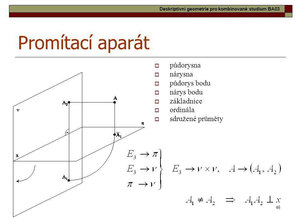 46 Promítací aparát  půdorysna  nárysna  půdorys bodu  nárys bodu  základnice  ordinála  sdružené průměty Deskriptivní geometrie pro kombinovan