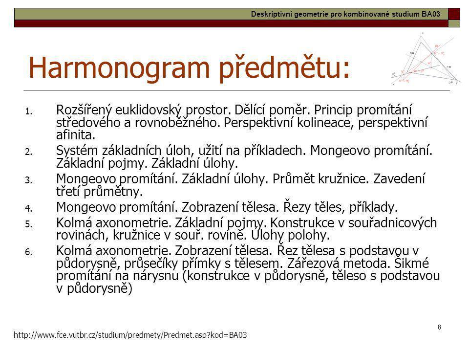 8 Harmonogram předmětu: 1. Rozšířený euklidovský prostor. Dělící poměr. Princip promítání středového a rovnoběžného. Perspektivní kolineace, perspekti