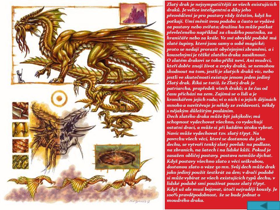 Zlatý drak je nejsympatičtější ze všech existujících draků. Je velice inteligentní a díky jeho přesvědčení je pro postavy vždy štěstím, když ho potkaj