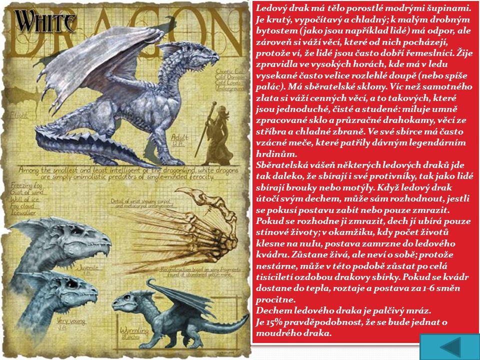 Ledový drak má tělo porostlé modrými šupinami. Je krutý, vypočítavý a chladný; k malým drobným bytostem (jako jsou například lidé) má odpor, ale zárov