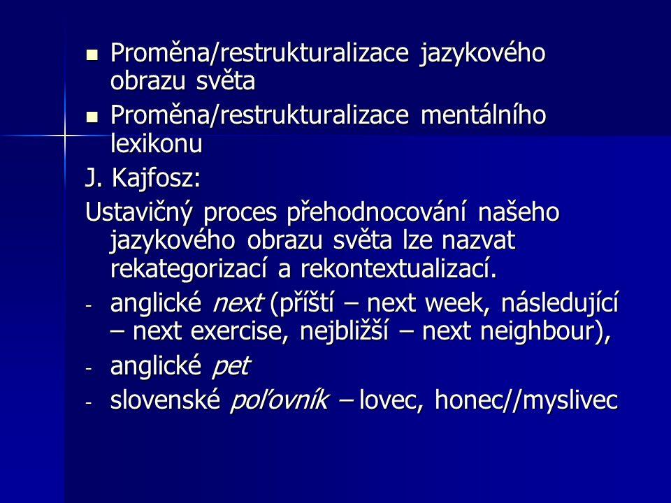 Proměna/restrukturalizace jazykového obrazu světa Proměna/restrukturalizace jazykového obrazu světa Proměna/restrukturalizace mentálního lexikonu Prom