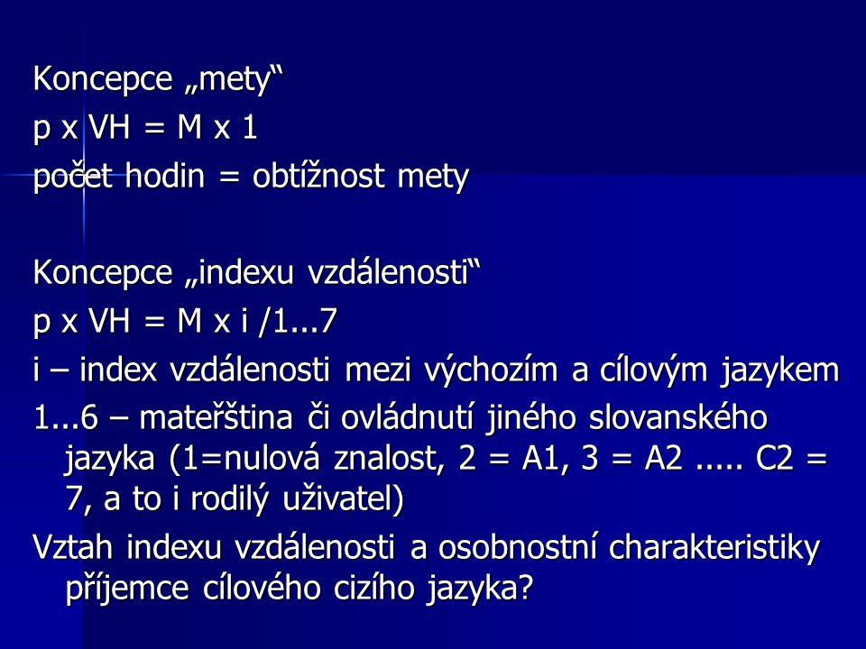 """Koncepce """"mety"""" p x VH = M x 1 počet hodin = obtížnost mety Koncepce """"indexu vzdálenosti"""" p x VH = M x i /1...7 i – index vzdálenosti mezi výchozím a"""