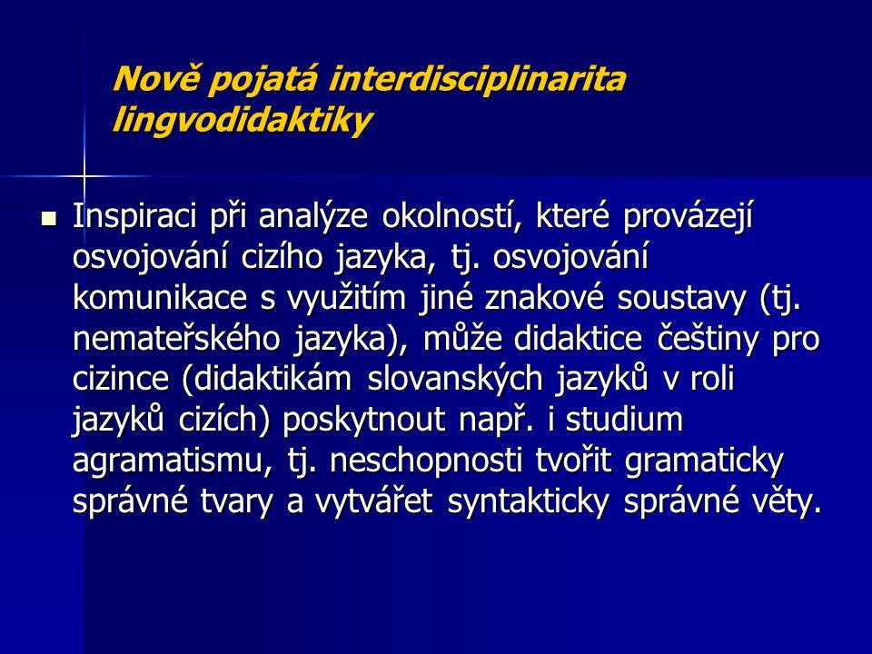 Nově pojatá interdisciplinarita lingvodidaktiky Inspiraci při analýze okolností, které provázejí osvojování cizího jazyka, tj. osvojování komunikace s