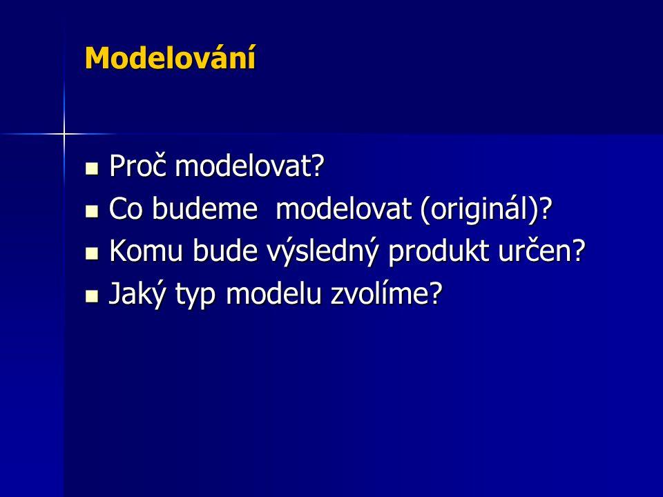 Modelování Proč modelovat? Proč modelovat? Co budeme modelovat (originál)? Co budeme modelovat (originál)? Komu bude výsledný produkt určen? Komu bude