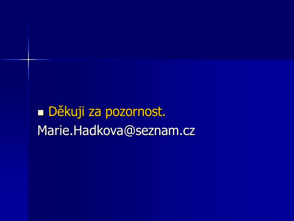 Děkuji za pozornost. Děkuji za pozornost.Marie.Hadkova@seznam.cz