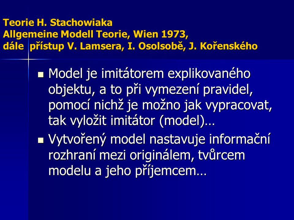 Teorie H. Stachowiaka Allgemeine Modell Teorie, Wien 1973, dále přístup V. Lamsera, I. Osolsobě, J. Kořenského Model je imitátorem explikovaného objek