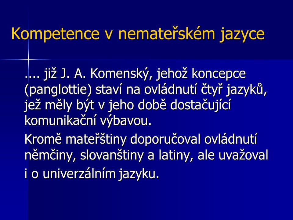 Kompetence v nemateřském jazyce.... již J. A. Komenský, jehož koncepce (panglottie) staví na ovládnutí čtyř jazyků, jež měly být v jeho době dostačují