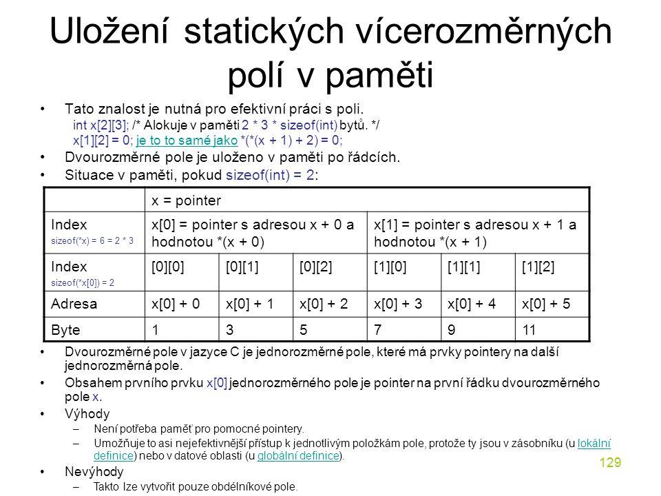 129 Uložení statických vícerozměrných polí v paměti Tato znalost je nutná pro efektivní práci s poli.