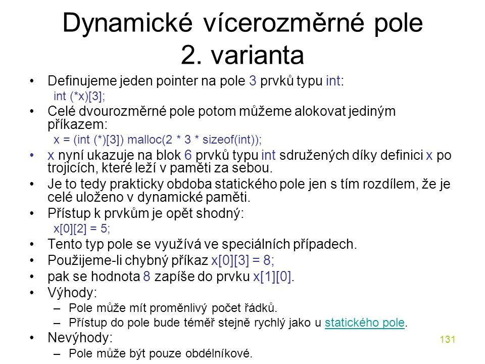 131 Dynamické vícerozměrné pole 2.