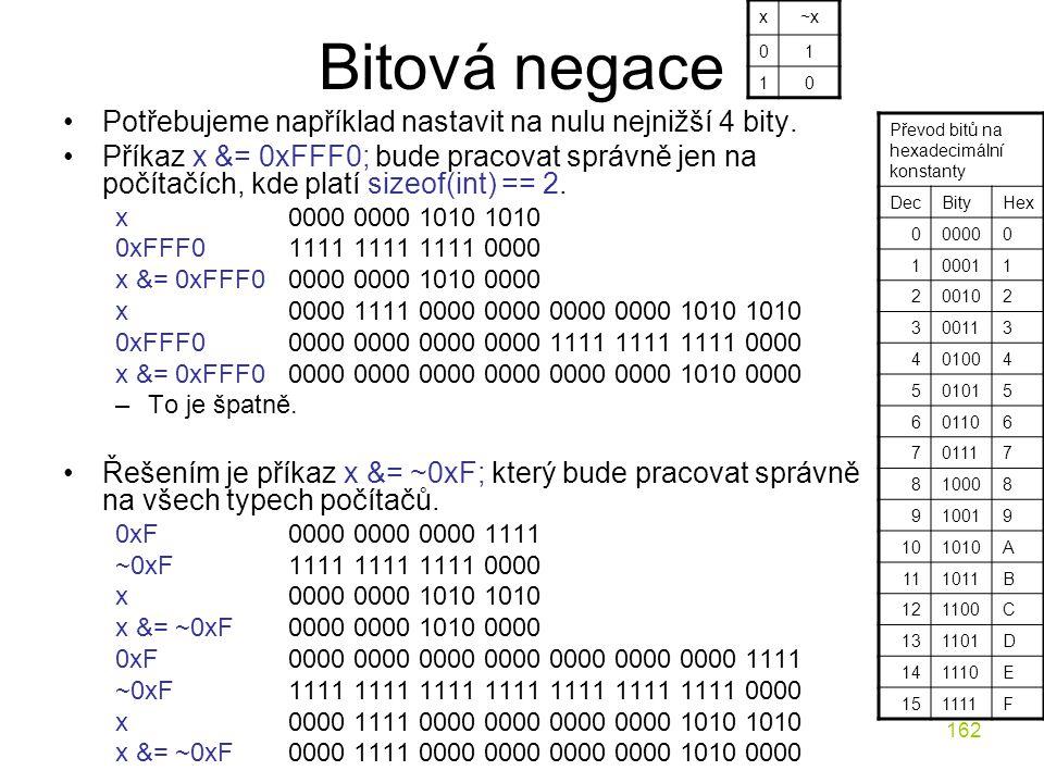 162 Bitová negace Potřebujeme například nastavit na nulu nejnižší 4 bity.