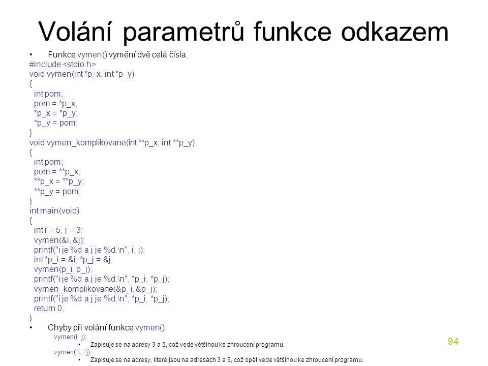 94 Volání parametrů funkce odkazem Funkce vymen() vymění dvě celá čísla.
