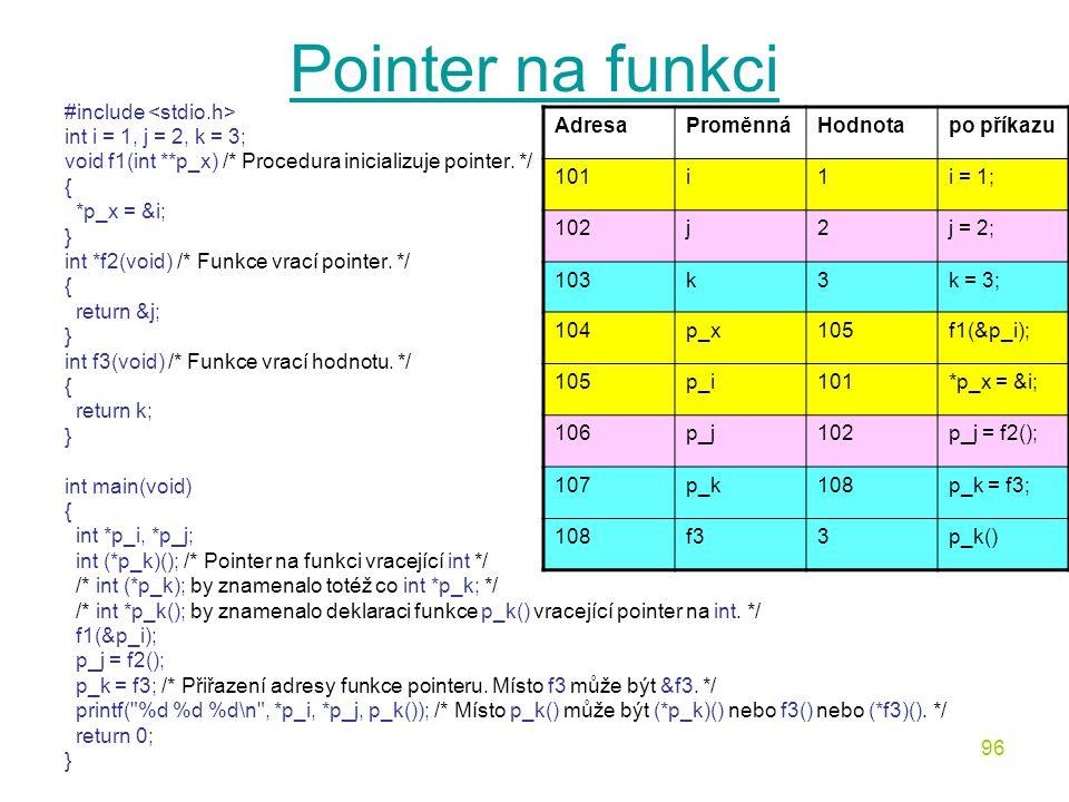 96 Pointer na funkci #include int i = 1, j = 2, k = 3; void f1(int **p_x) /* Procedura inicializuje pointer.