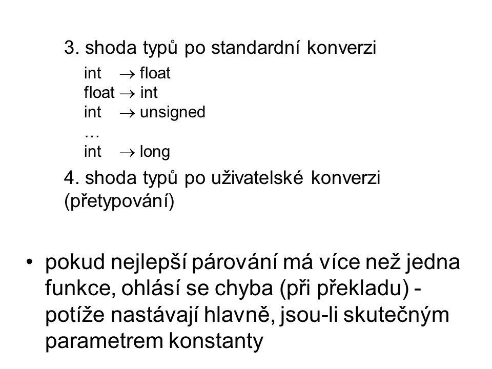 3. shoda typů po standardní konverzi int  float float  int int  unsigned … int  long 4. shoda typů po uživatelské konverzi (přetypování) pokud ne