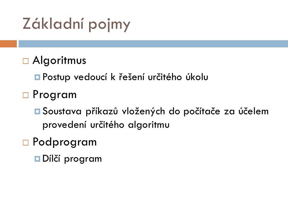 Základní pojmy  Algoritmus  Postup vedoucí k řešení určitého úkolu  Program  Soustava příkazů vložených do počítače za účelem provedení určitého algoritmu  Podprogram  Dílčí program