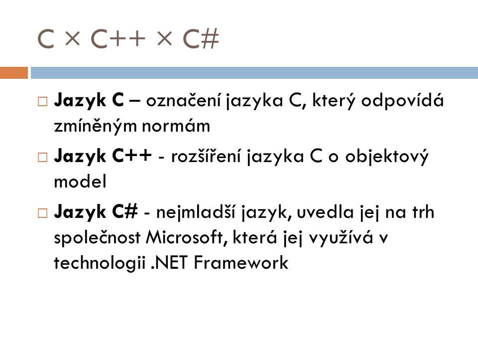 C × C++ × C#  Jazyk C – označení jazyka C, který odpovídá zmíněným normám  Jazyk C++ - rozšíření jazyka C o objektový model  Jazyk C# - nejmladší jazyk, uvedla jej na trh společnost Microsoft, která jej využívá v technologii.NET Framework