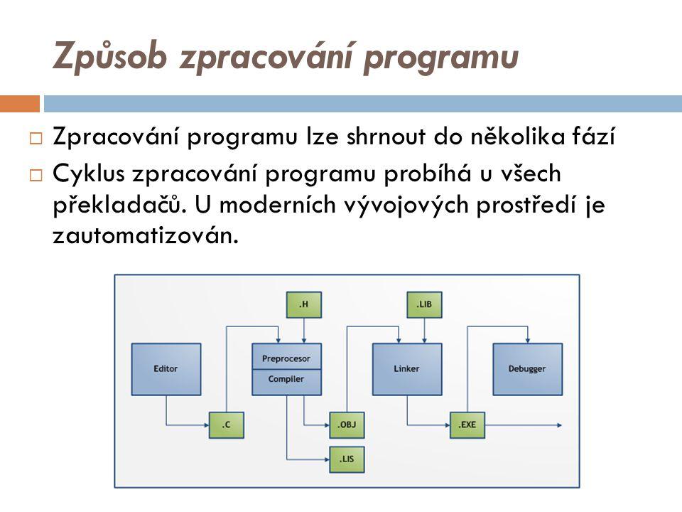 Způsob zpracování programu  Zpracování programu lze shrnout do několika fází  Cyklus zpracování programu probíhá u všech překladačů.