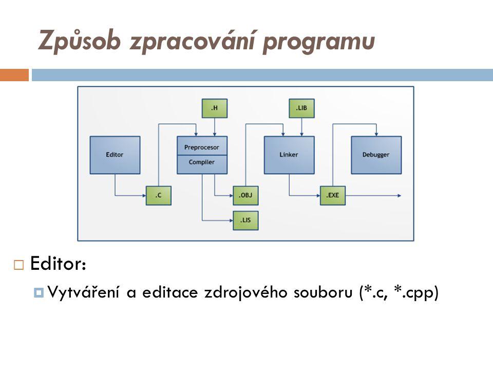 Způsob zpracování programu  Editor:  Vytváření a editace zdrojového souboru (*.c, *.cpp)