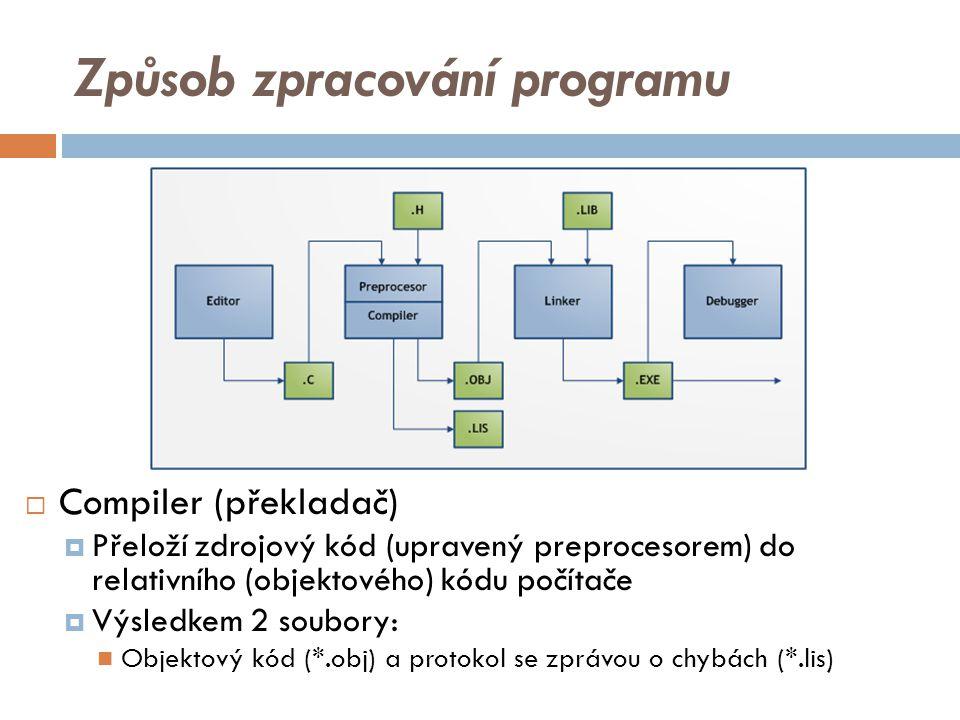 Způsob zpracování programu  Compiler (překladač)  Přeloží zdrojový kód (upravený preprocesorem) do relativního (objektového) kódu počítače  Výsledkem 2 soubory: Objektový kód (*.obj) a protokol se zprávou o chybách (*.lis)