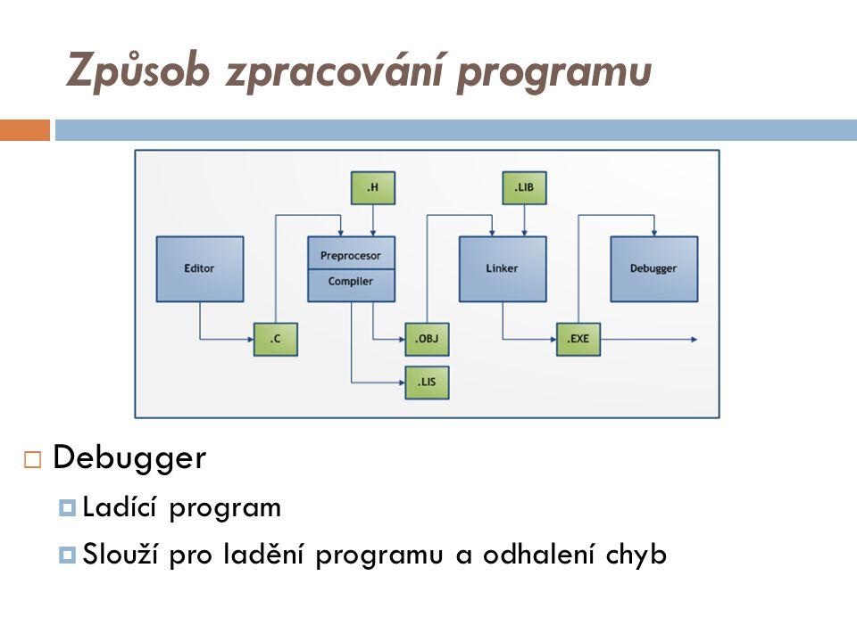 Způsob zpracování programu  Debugger  Ladící program  Slouží pro ladění programu a odhalení chyb