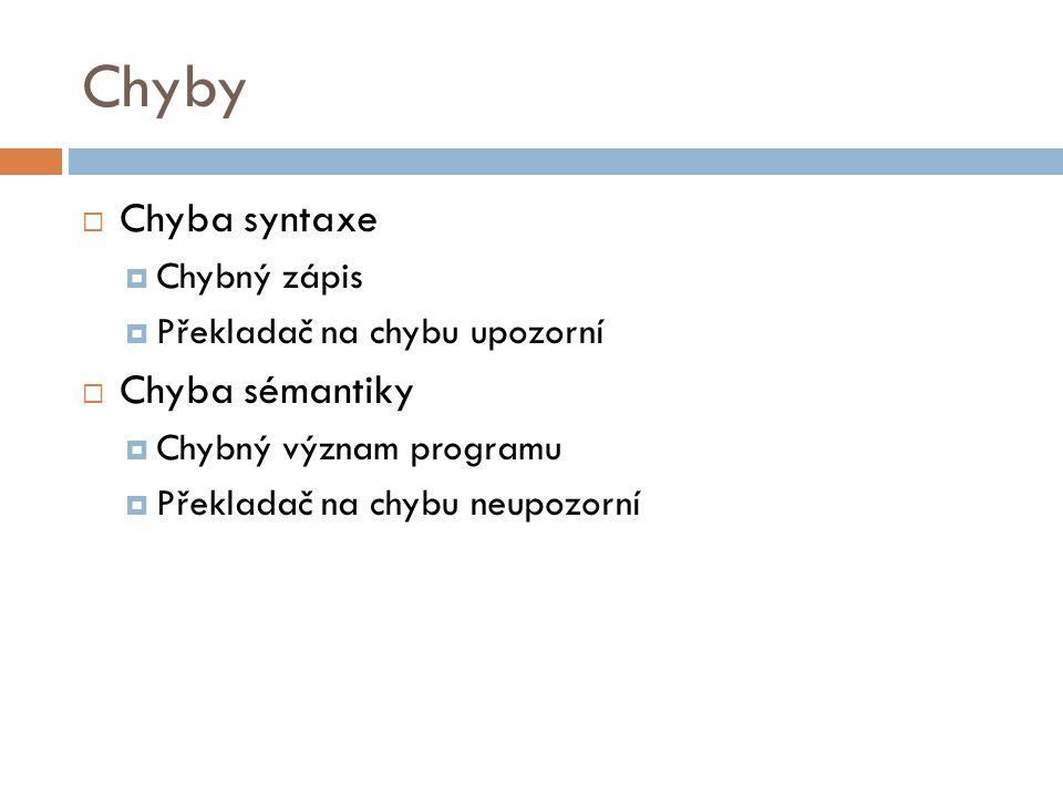 Chyby  Chyba syntaxe  Chybný zápis  Překladač na chybu upozorní  Chyba sémantiky  Chybný význam programu  Překladač na chybu neupozorní