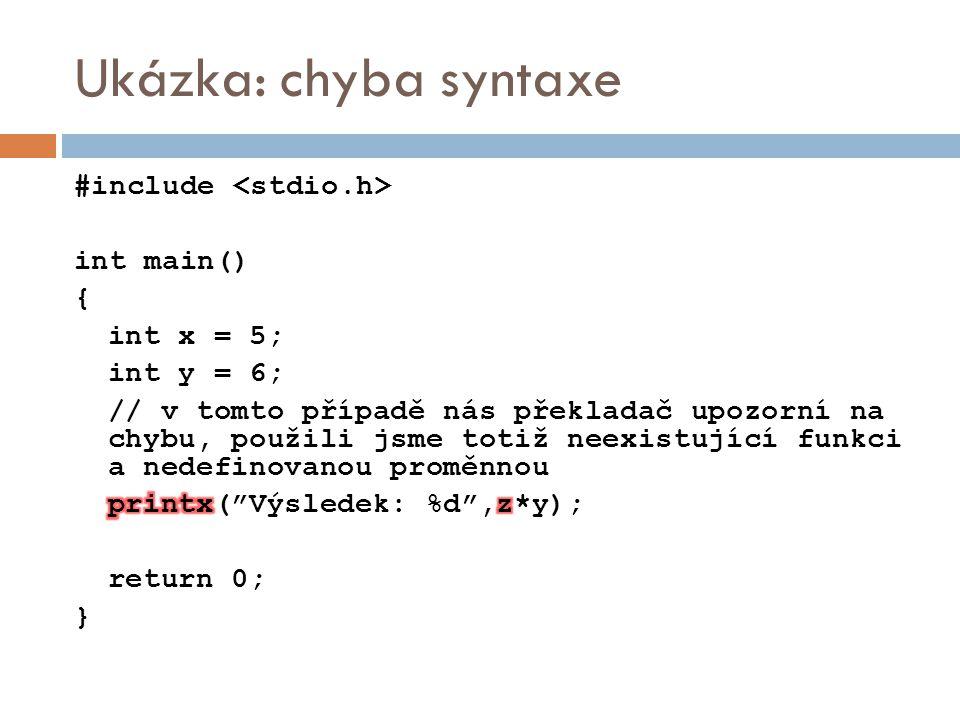 Ukázka: chyba syntaxe