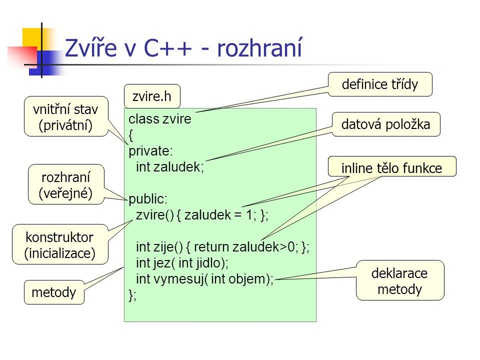 void str::copy( char* s) { if( !s || !*s) { buf = 0; } else { buf = new char[ strlen( s)+1]; if( buf) strcpy( buf, s); } Implementace kopírování zkontrolovat prázdný řetězec alokace a kopírování předpokládáme prázdný buf zařídí volající metoda – copy je private