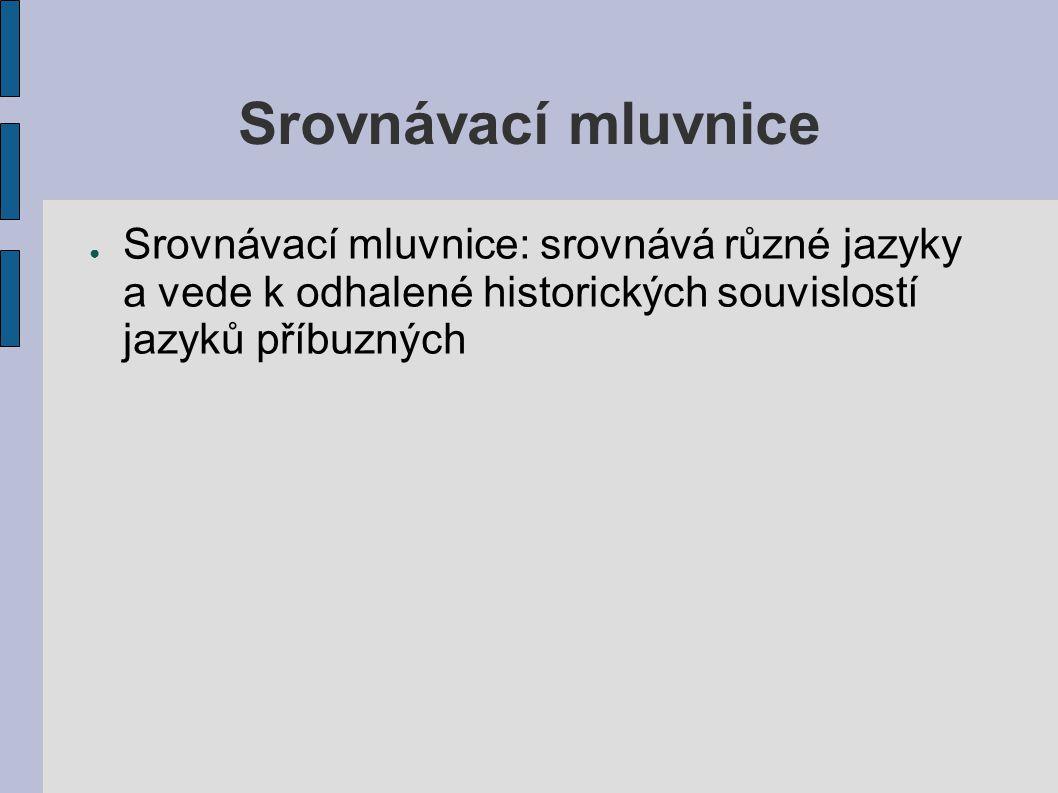 Srovnávací mluvnice ● Srovnávací mluvnice: srovnává různé jazyky a vede k odhalené historických souvislostí jazyků příbuzných