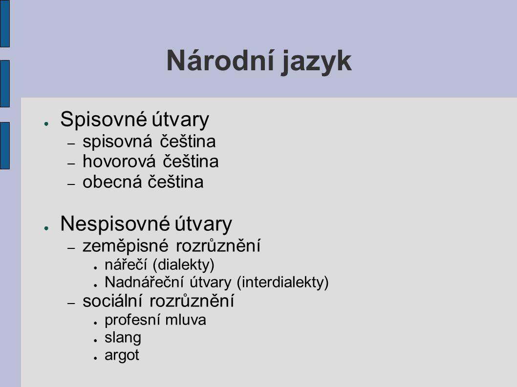 Národní jazyk ● Spisovné útvary – spisovná čeština – hovorová čeština – obecná čeština ● Nespisovné útvary – zeměpisné rozrůznění ● nářečí (dialekty)