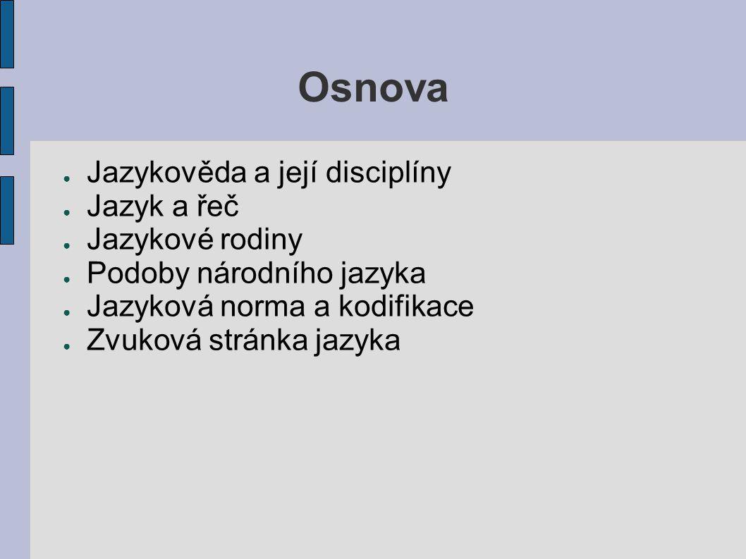 Osnova ● Jazykověda a její disciplíny ● Jazyk a řeč ● Jazykové rodiny ● Podoby národního jazyka ● Jazyková norma a kodifikace ● Zvuková stránka jazyka