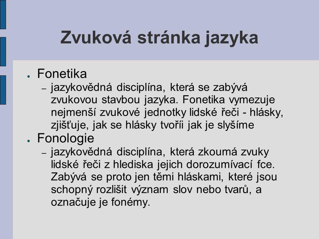 Zvuková stránka jazyka ● Fonetika – jazykovědná disciplína, která se zabývá zvukovou stavbou jazyka. Fonetika vymezuje nejmenší zvukové jednotky lidsk