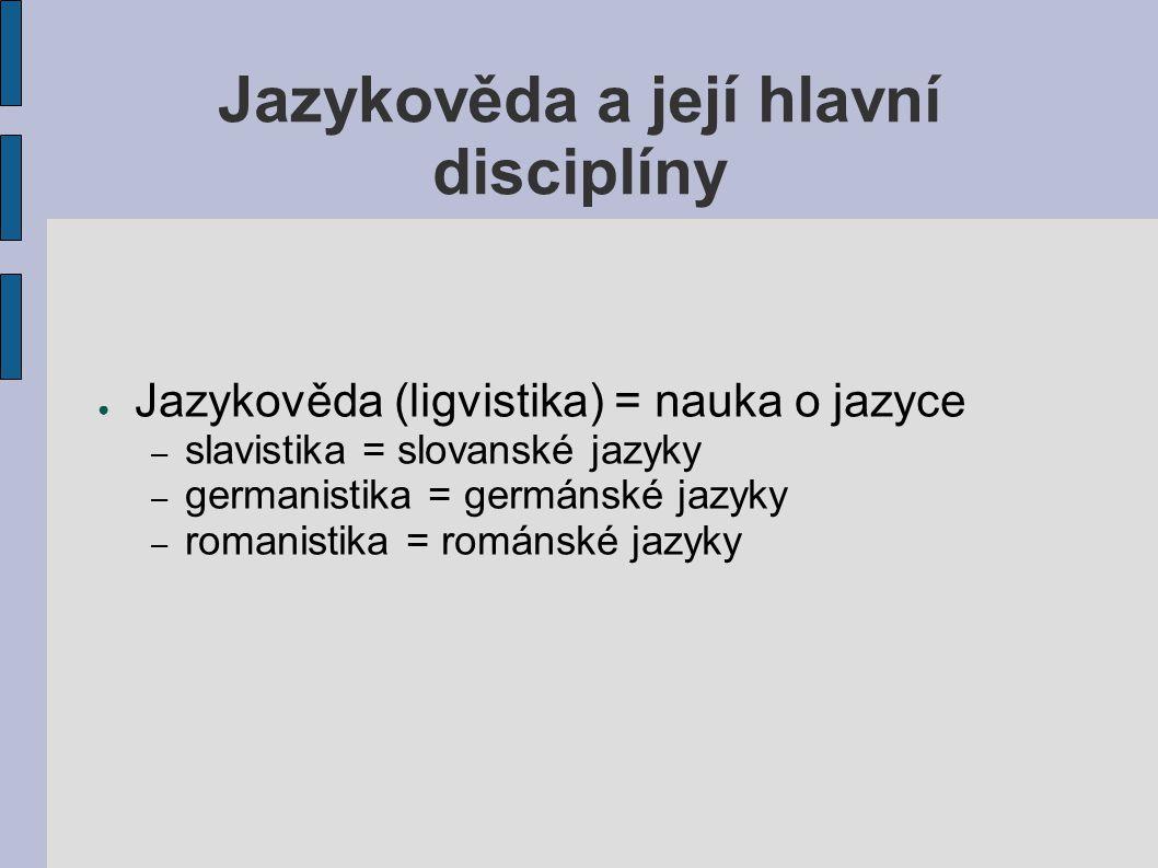 Jazykověda a její hlavní disciplíny ● Jazykověda (ligvistika) = nauka o jazyce – slavistika = slovanské jazyky – germanistika = germánské jazyky – rom
